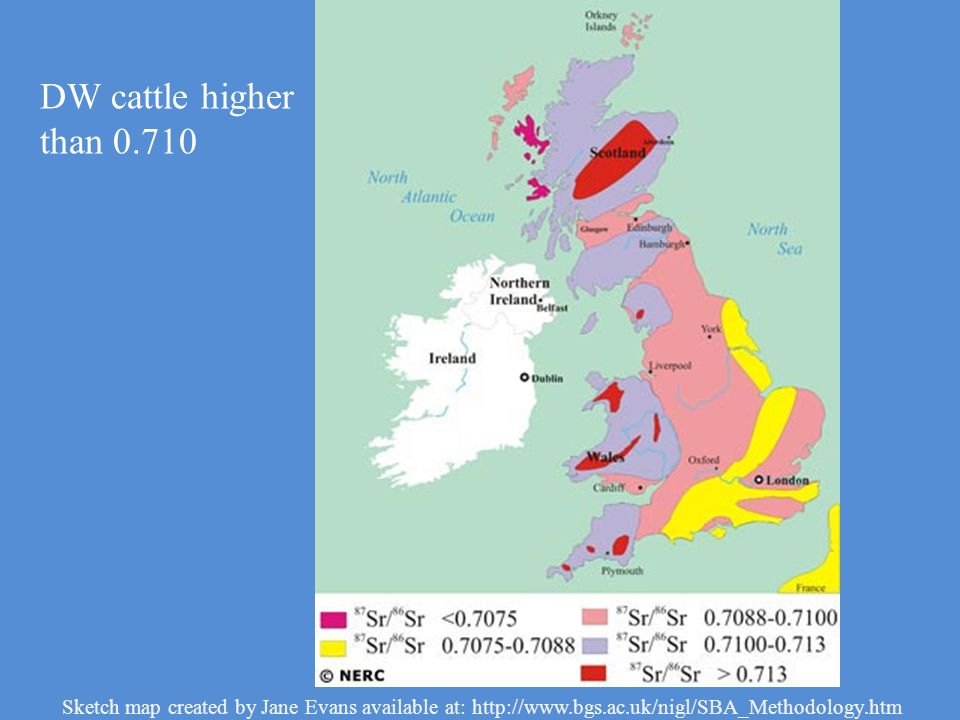 Sketch map created by Jane Evans available at: http://www.bgs.ac.uk/nigl/SBA_Methodology.htm DW cattle higher than 0.710