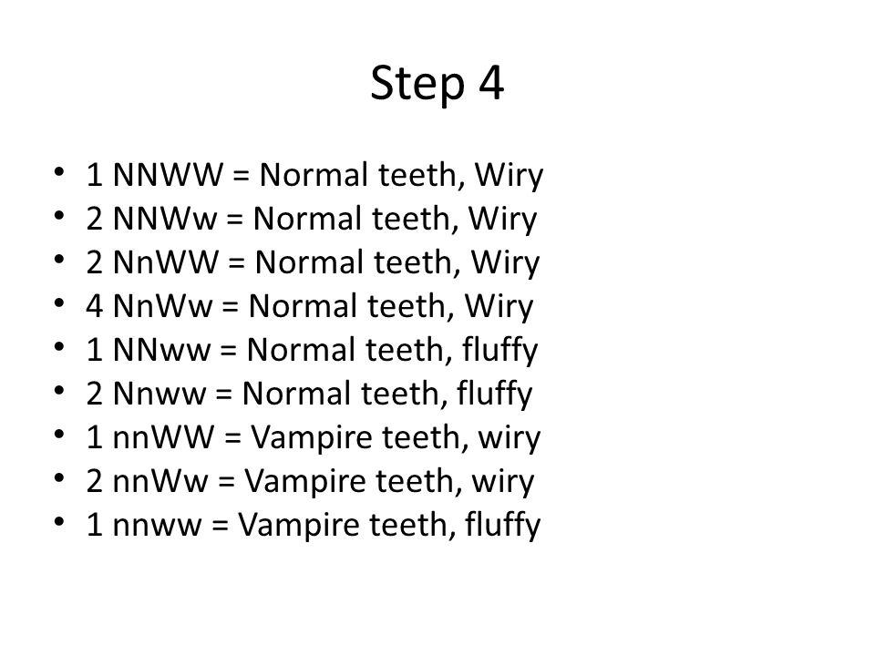 Step 4 1 NNWW = Normal teeth, Wiry 2 NNWw = Normal teeth, Wiry 2 NnWW = Normal teeth, Wiry 4 NnWw = Normal teeth, Wiry 1 NNww = Normal teeth, fluffy 2 Nnww = Normal teeth, fluffy 1 nnWW = Vampire teeth, wiry 2 nnWw = Vampire teeth, wiry 1 nnww = Vampire teeth, fluffy