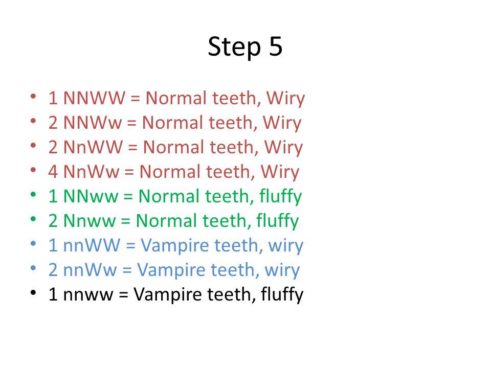 Step 5 1 NNWW = Normal teeth, Wiry 2 NNWw = Normal teeth, Wiry 2 NnWW = Normal teeth, Wiry 4 NnWw = Normal teeth, Wiry 1 NNww = Normal teeth, fluffy 2 Nnww = Normal teeth, fluffy 1 nnWW = Vampire teeth, wiry 2 nnWw = Vampire teeth, wiry 1 nnww = Vampire teeth, fluffy