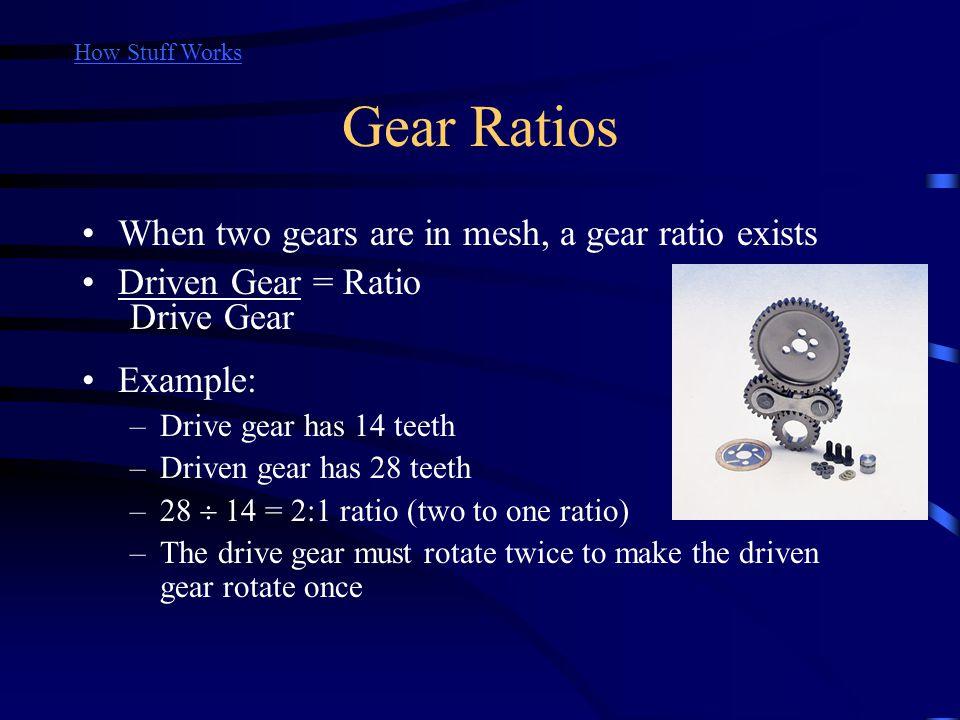Gear Ratios When two gears are in mesh, a gear ratio exists Driven Gear = Ratio Example: –Drive gear has 14 teeth –Driven gear has 28 teeth –28 14 = 2