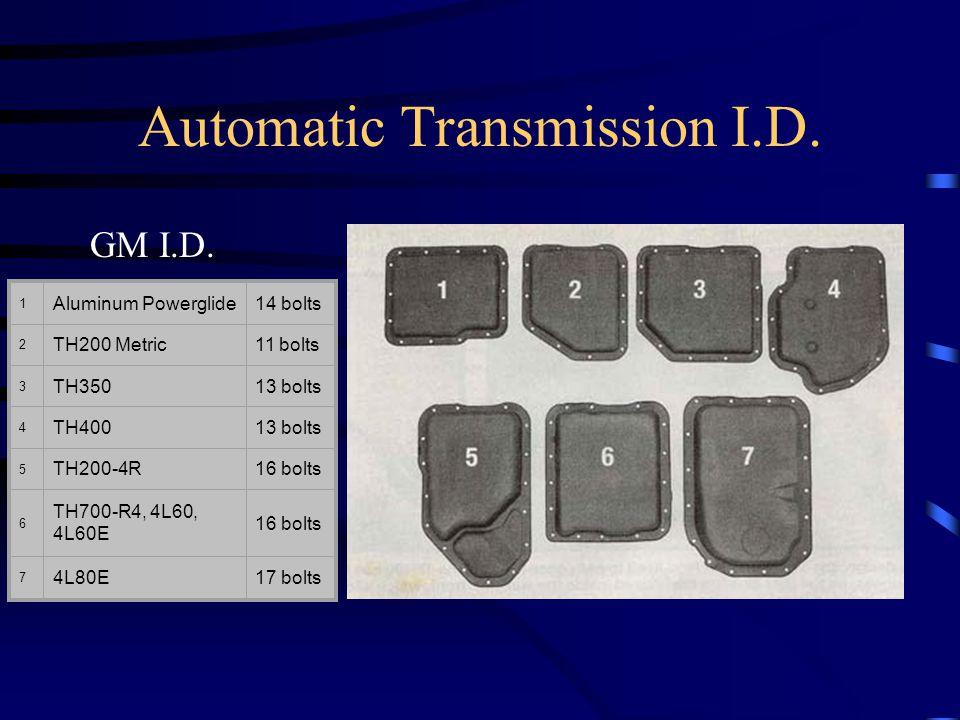 1 Aluminum Powerglide14 bolts 2 TH200 Metric11 bolts 3 TH35013 bolts 4 TH40013 bolts 5 TH200-4R16 bolts 6 TH700-R4, 4L60, 4L60E 16 bolts 7 4L80E17 bol