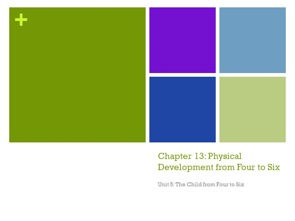 + Chapter Objectives Summarize how an average childs posture and body shape change from ages four to six Compare and Contrast average motor skills development for four, five, and six-year olds Explain why good nutrition is essential for children ages four to six Identify three ways that four to six-year olds are able to care for themselves Describe three steps that can help minimize toileting accidents List three areas of outdoor safety to discuss with four to six-year olds