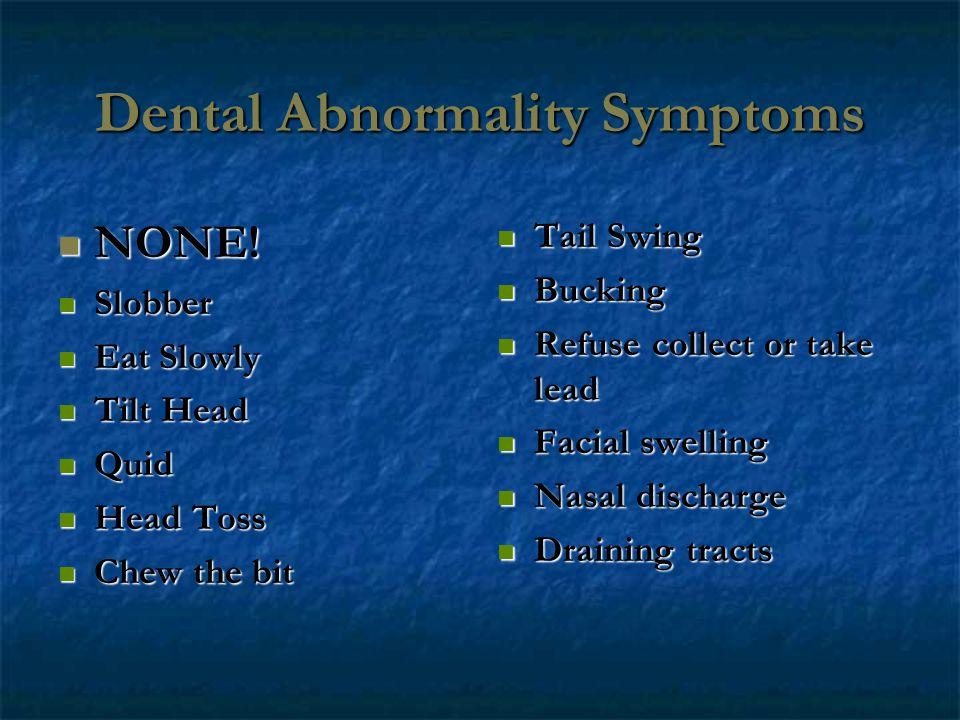 Dental Abnormality Symptoms NONE! NONE! Slobber Slobber Eat Slowly Eat Slowly Tilt Head Tilt Head Quid Quid Head Toss Head Toss Chew the bit Chew the