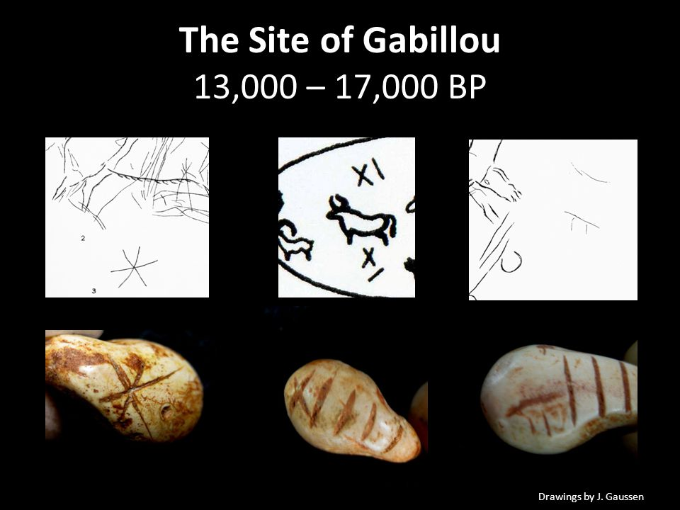 The Site of Gabillou 13,000 – 17,000 BP Drawings by J. Gaussen