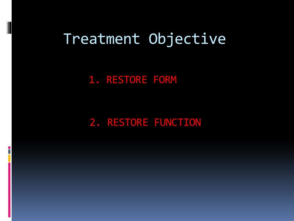 Treatment Objective 1. RESTORE FORM 2. RESTORE FUNCTION