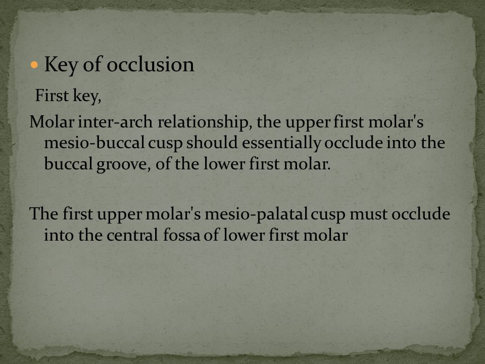 Key of occlusion First key, Molar inter-arch relationship, the upper first molar's mesio-buccal cusp should essentially occlude into the buccal groove