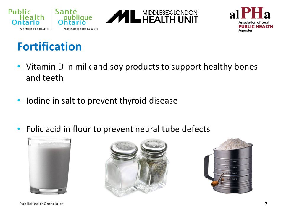 Fortification Vitamin D in milk and soy products to support healthy bones and teeth Iodine in salt to prevent thyroid disease Folic acid in flour to p