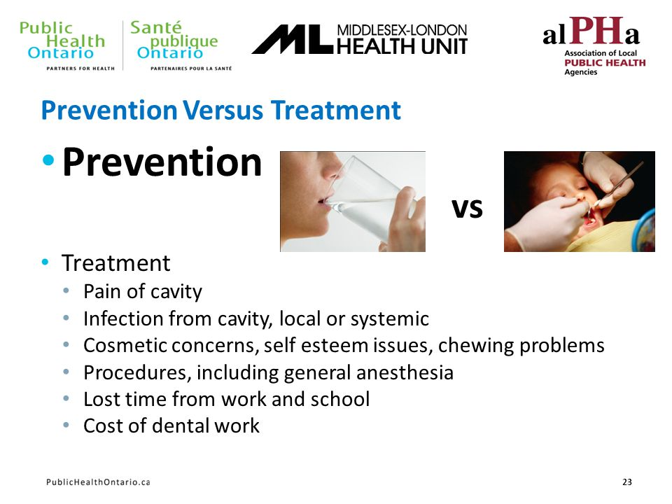 Prevention Versus Treatment Prevention Treatment Pain of cavity Infection from cavity, local or systemic Cosmetic concerns, self esteem issues, chewin