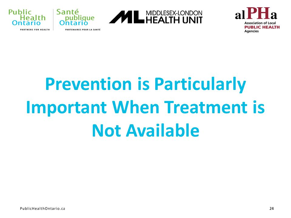 Prevention is Particularly Important When Treatment is Not Available 24