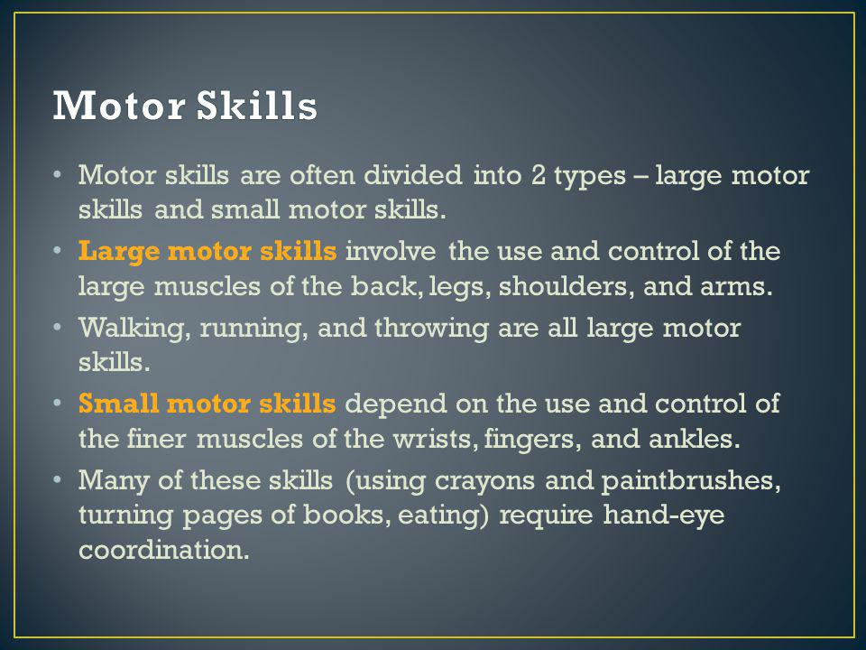 Motor skills are often divided into 2 types – large motor skills and small motor skills.