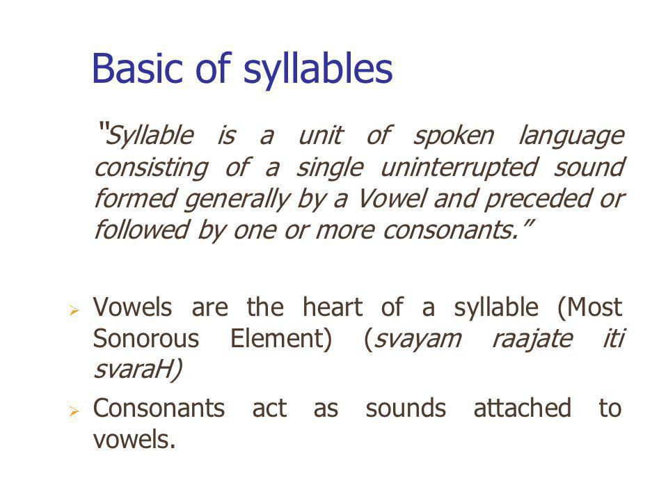 Basic of syllables Syllable is a unit of spoken language consisting of a single uninterrupted sound formed generally by a Vowel and preceded or follow