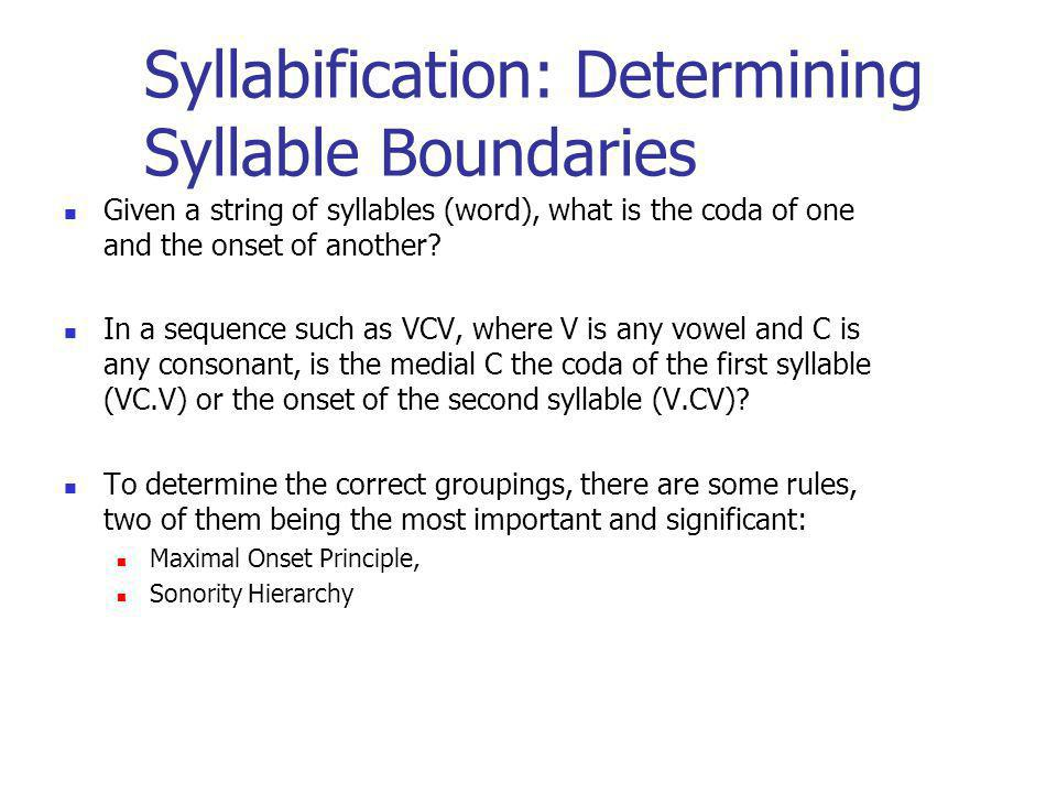 Syllabification: Determining Syllable Boundaries Given a string of syllables (word), what is the coda of one and the onset of another? In a sequence s