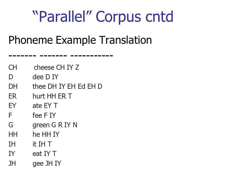 Parallel Corpus cntd Phoneme Example Translation ------- ------- ----------- CH cheese CH IY Z D dee D IY DH thee DH IY EH Ed EH D ER hurt HH ER T EY