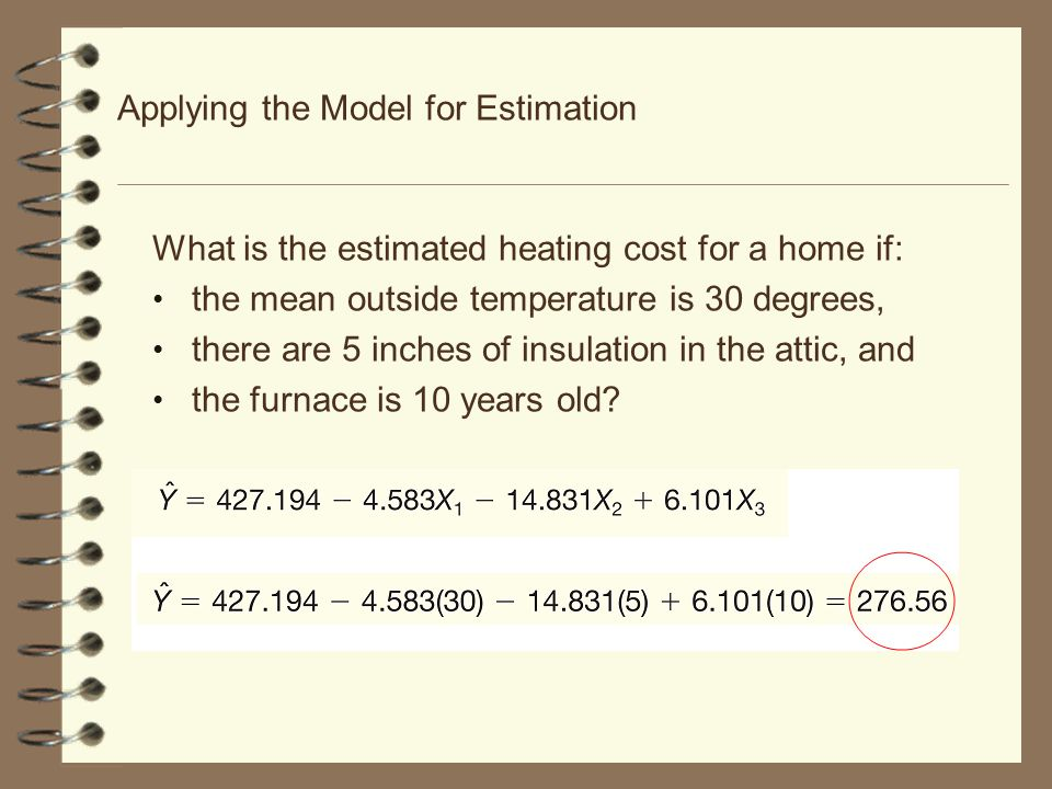 14-66 The Multiple Regression Equation – Interpreting the Regression Coefficients b 3 = The regression coefficient for mean attic insulation (X 3 ) is The coefficient is positive and shows a negative correlation between heating cost and insulation.