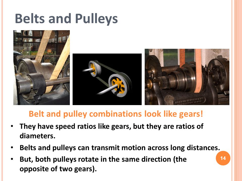 14 Belt and pulley combinations look like gears.
