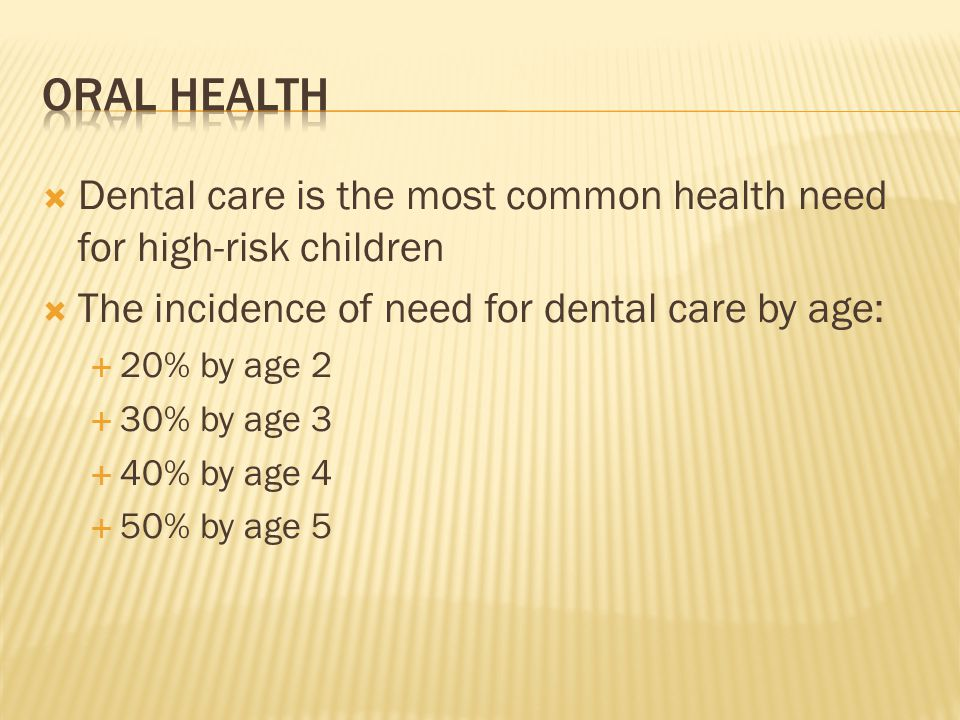 Dental care is the most common health need for high-risk children The incidence of need for dental care by age: 20% by age 2 30% by age 3 40% by age 4 50% by age 5