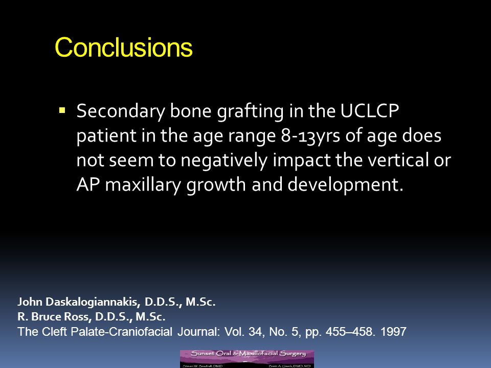 Conclusions Secondary bone grafting in the UCLCP patient in the age range 8-13yrs of age does not seem to negatively impact the vertical or AP maxilla
