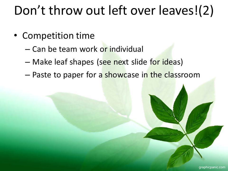Dont throw out left over leaves!(2) Competition time – Can be team work or individual – Make leaf shapes (see next slide for ideas) – Paste to paper f