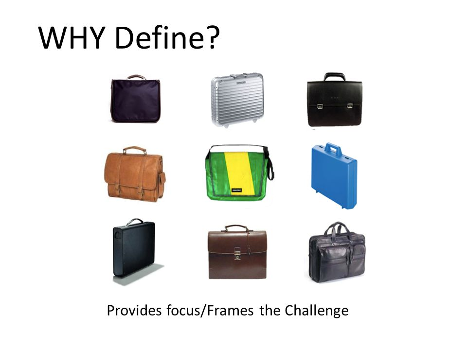 WHY Define Provides focus/Frames the Challenge