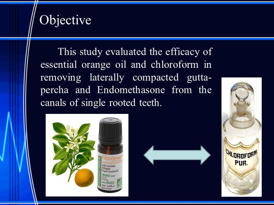 Objective This study evaluated the efficacy of essential orange oil and chloroform in removing laterally compacted gutta- percha and Endomethasone fro