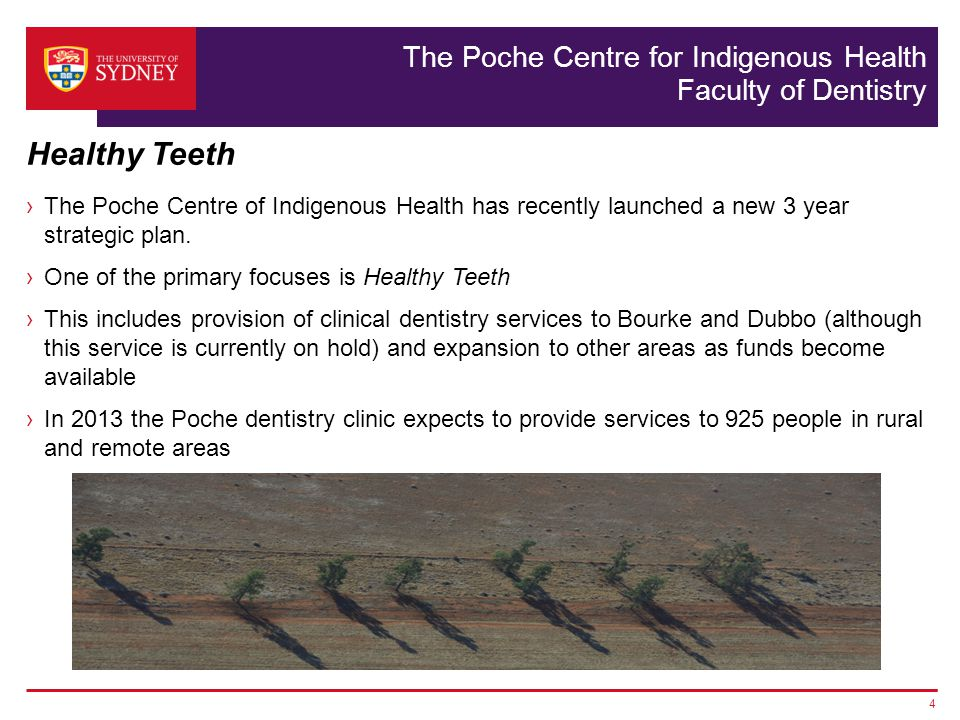 The Poche Centre for Indigenous Health Faculty of Dentistry Limited Access, Limited Continuity -Prior to 2010 Bourke was serviced by a private dentist and access to this service was limited by cost.