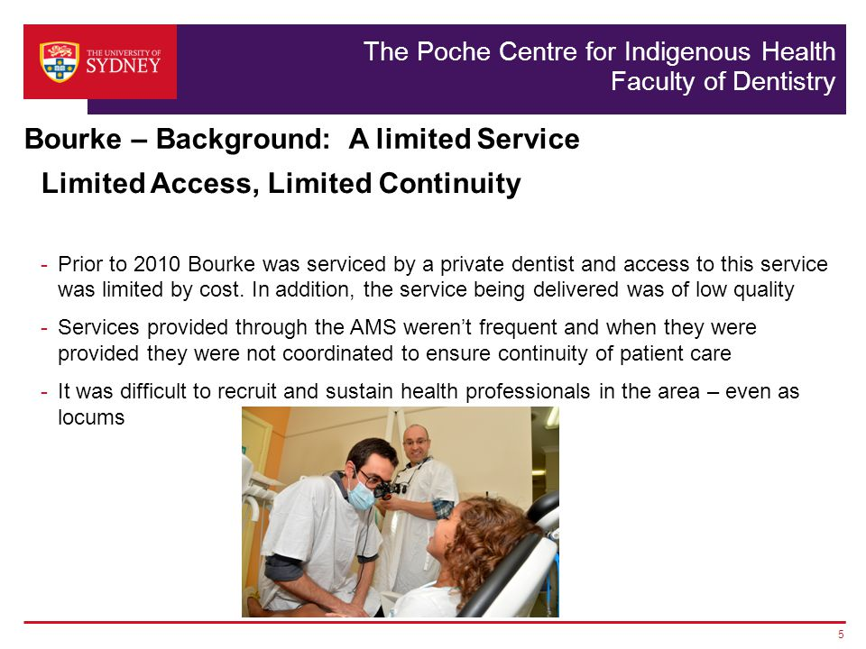 The Poche Centre for Indigenous Health Faculty of Dentistry Boe Rambaldini, John Skinner, Shanti Sivaneswaren, Jenni Floyd and the AMS teams The patients and communities that work with us Professor Anthony Blinkhorn The students and staff that deliver the services 16 Acknowledgements and thanks