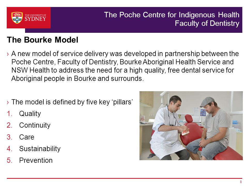 The Poche Centre for Indigenous Health Faculty of Dentistry A new model of service delivery was developed in partnership between the Poche Centre, Faculty of Dentistry, Bourke Aboriginal Health Service and NSW Health to address the need for a high quality, free dental service for Aboriginal people in Bourke and surrounds.