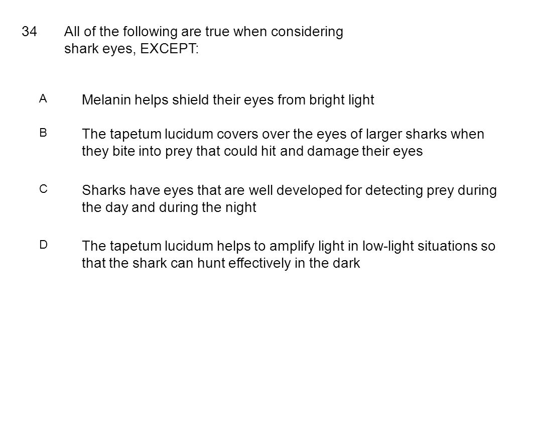 34All of the following are true when considering shark eyes, EXCEPT: A Melanin helps shield their eyes from bright light B The tapetum lucidum covers