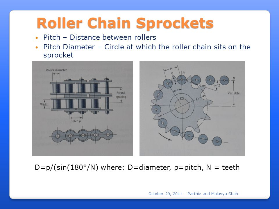 October 29, 2011Parthiv and Malavya Shah Roller Chain Sprockets Pitch – Distance between rollers Pitch Diameter – Circle at which the roller chain sits on the sprocket D=p/(sin(180°/N) where: D=diameter, p=pitch, N = teeth