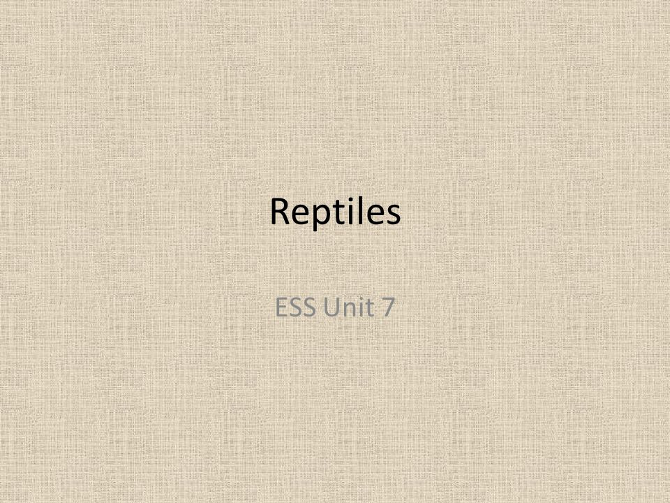Reptiles ESS Unit 7