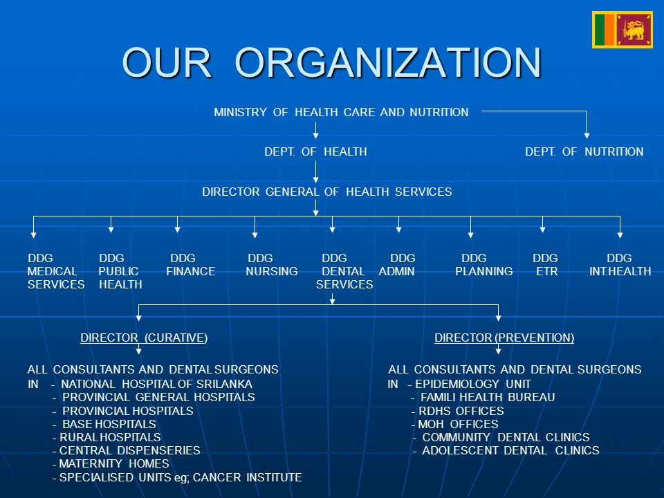 OUR ORGANIZATION MINISTRY OF HEALTH CARE AND NUTRITION DEPT.