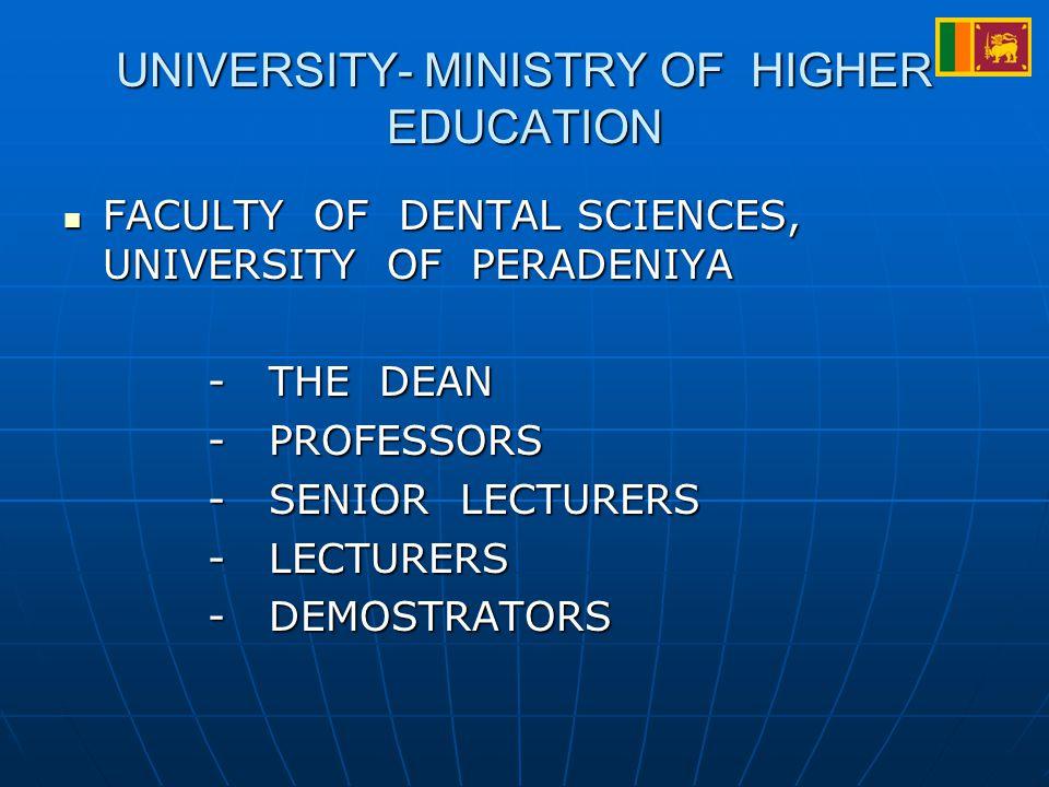 UNIVERSITY- MINISTRY OF HIGHER EDUCATION FACULTY OF DENTAL SCIENCES, UNIVERSITY OF PERADENIYA FACULTY OF DENTAL SCIENCES, UNIVERSITY OF PERADENIYA - THE DEAN - THE DEAN - PROFESSORS - PROFESSORS - SENIOR LECTURERS - SENIOR LECTURERS - LECTURERS - LECTURERS - DEMOSTRATORS - DEMOSTRATORS