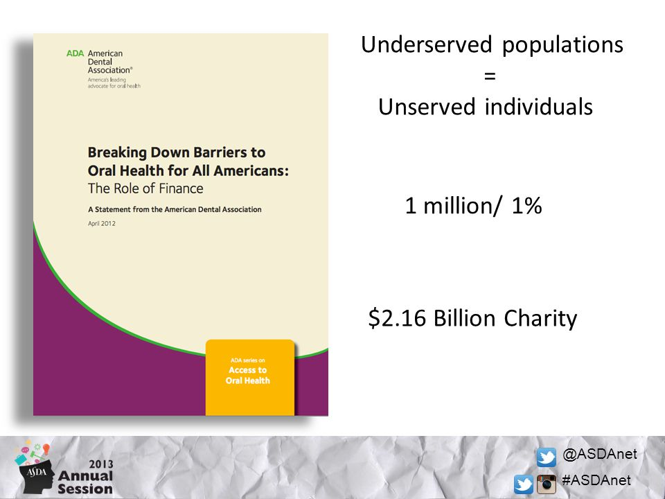 @ASDAnet #ASDAnet Underserved populations = Unserved individuals 1 million/ 1% $2.16 Billion Charity