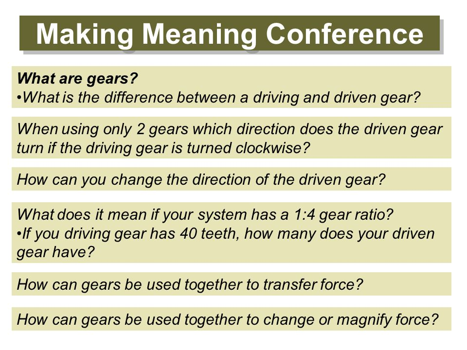 Making Meaning Conference When using only 2 gears which direction does the driven gear turn if the driving gear is turned clockwise? How can you chang