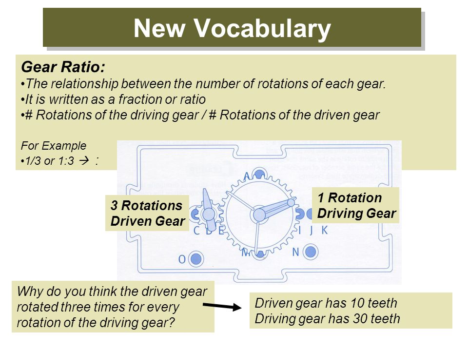 New Vocabulary Gear Ratio: The relationship between the number of rotations of each gear. It is written as a fraction or ratio # Rotations of the driv