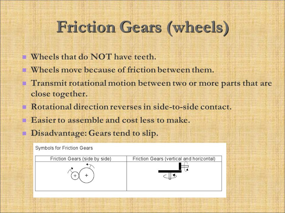 Friction Gears (wheels) Wheels that do NOT have teeth.