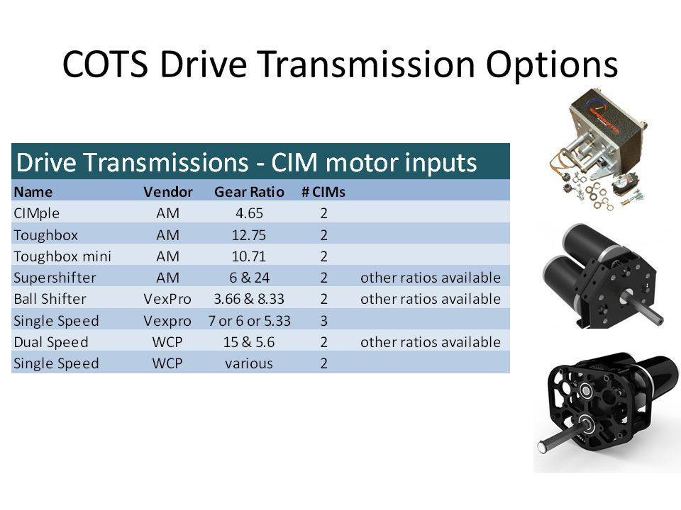 Drive Motors, Transmissions, Sprockets and Wheel Diameter Spreadsheet simulations allow quick iterations to explore different combinations of gearboxes, sprockets and wheel diameters.