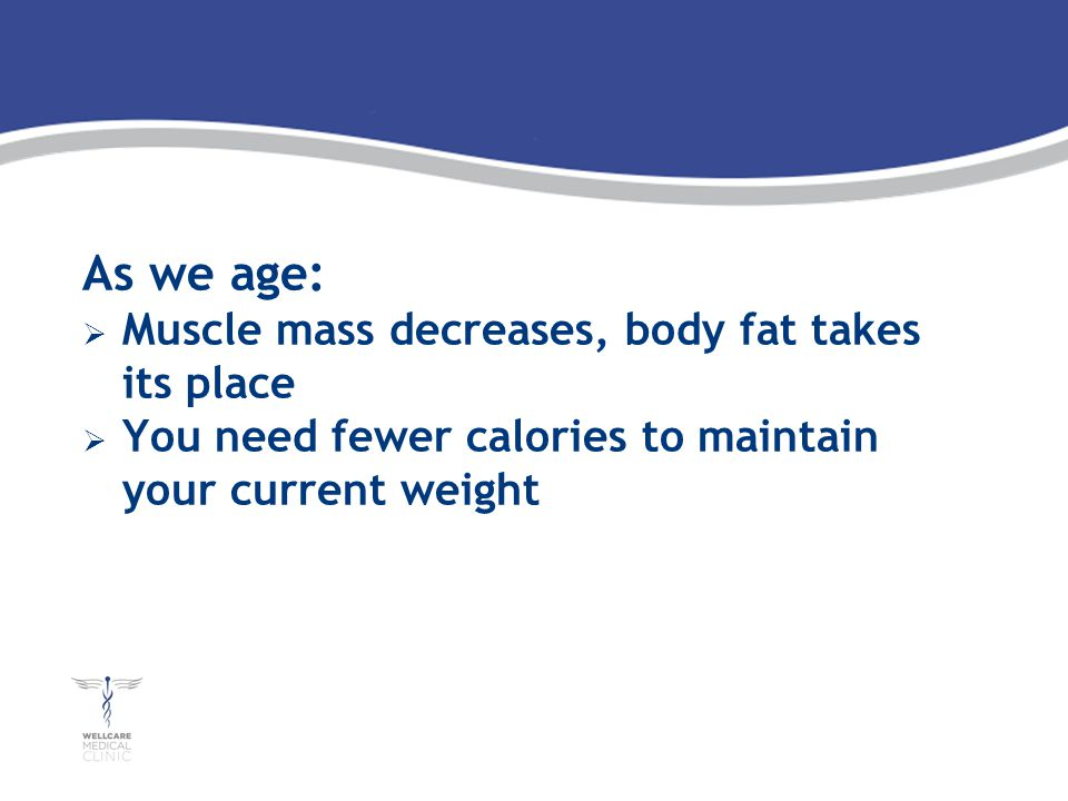 As we age: Muscle mass decreases, body fat takes its place You need fewer calories to maintain your current weight