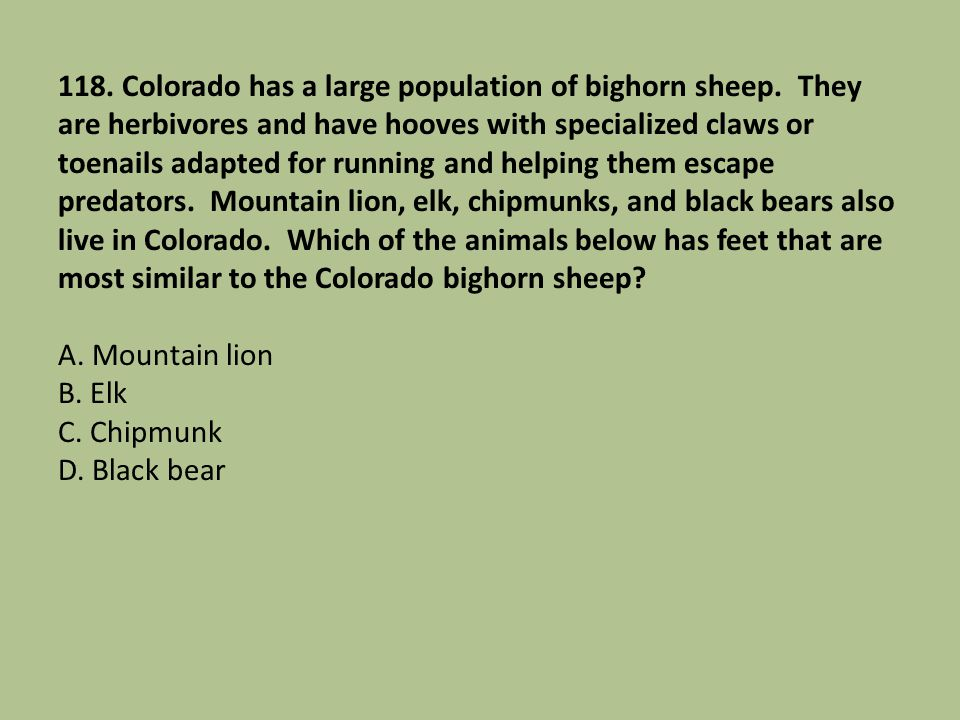 118. Colorado has a large population of bighorn sheep. They are herbivores and have hooves with specialized claws or toenails adapted for running and