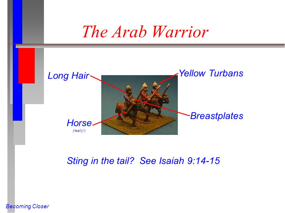 Becoming Closer The Arab Warrior Long Hair Yellow Turbans Breastplates Horse (really!) Sting in the tail? See Isaiah 9:14-15
