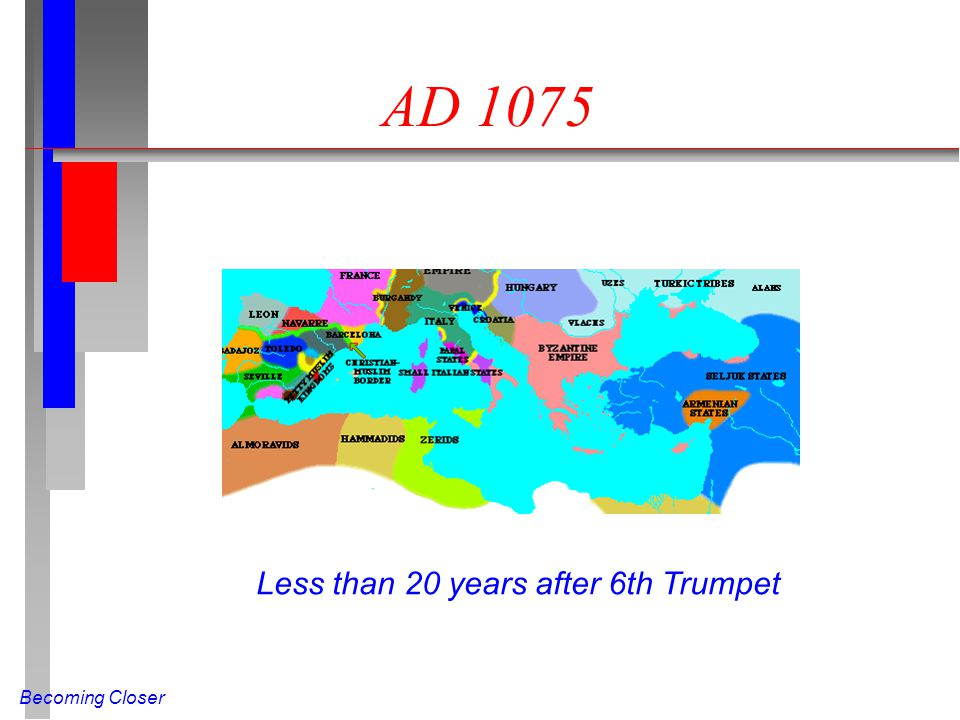 Becoming Closer AD 1075 Less than 20 years after 6th Trumpet