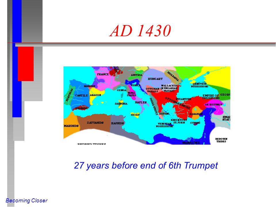 Becoming Closer AD 1430 27 years before end of 6th Trumpet