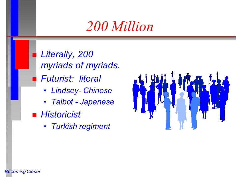 Becoming Closer 200 Million n Literally, 200 myriads of myriads. n Futurist: literal Lindsey- Chinese Talbot - Japanese n Historicist Turkish regiment