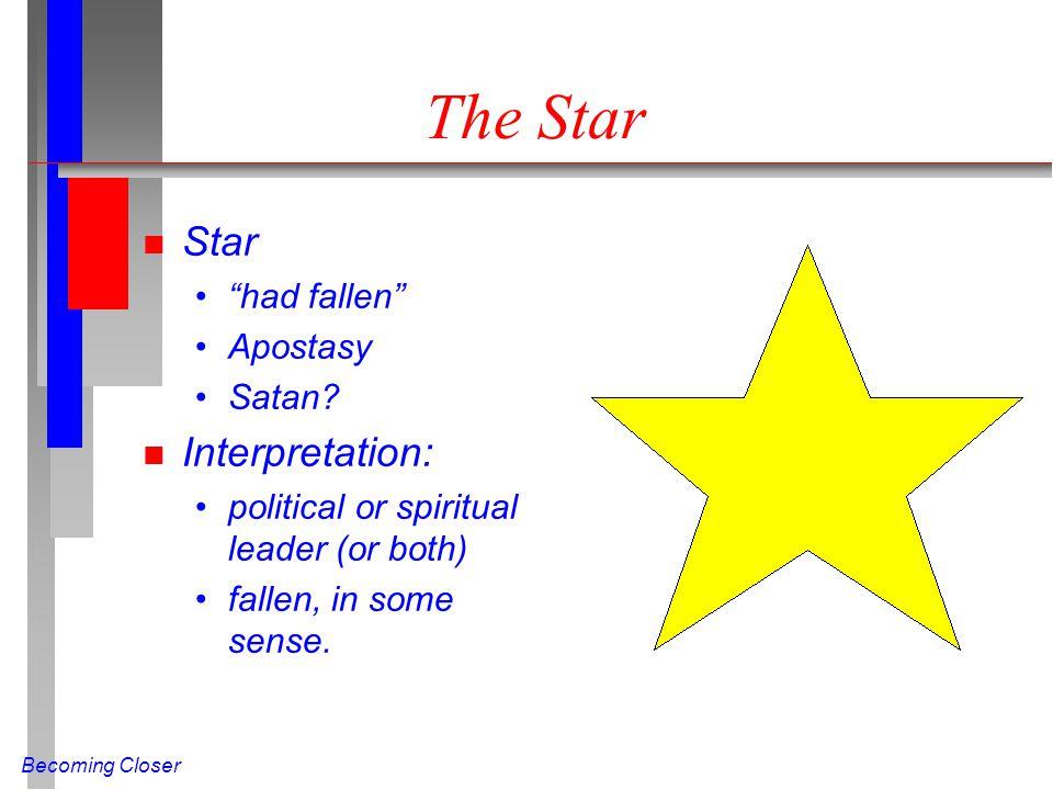 Becoming Closer The Star n Star had fallen Apostasy Satan? n Interpretation: political or spiritual leader (or both) fallen, in some sense.