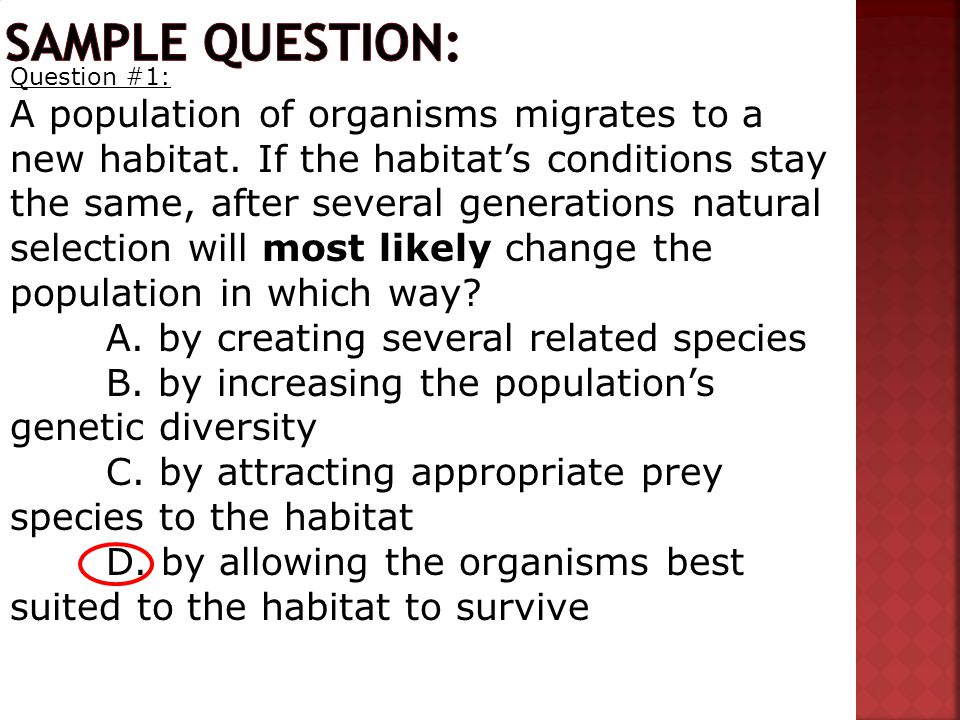 Question #1: A population of organisms migrates to a new habitat.