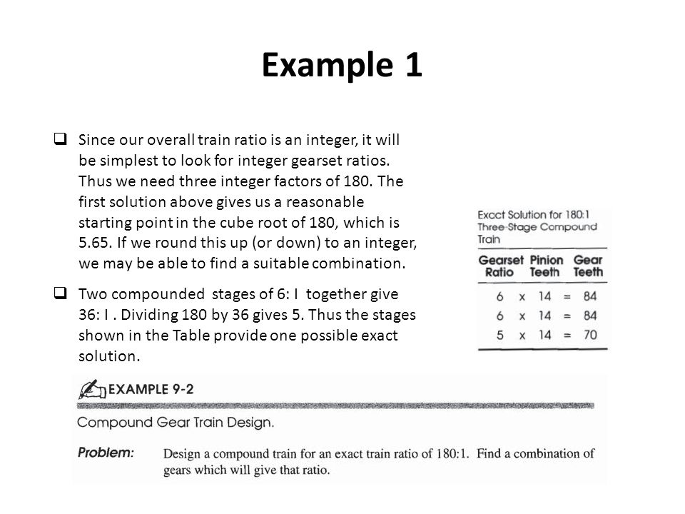 Example 1 Since our overall train ratio is an integer, it will be simplest to look for integer gearset ratios.