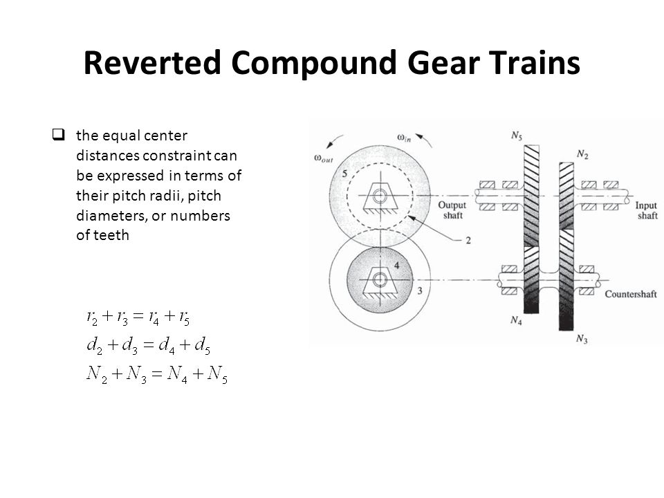 Reverted Compound Gear Trains the equal center distances constraint can be expressed in terms of their pitch radii, pitch diameters, or numbers of teeth