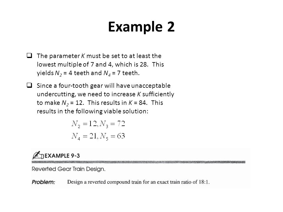 Example 2 The parameter K must be set to at least the lowest multiple of 7 and 4, which is 28.
