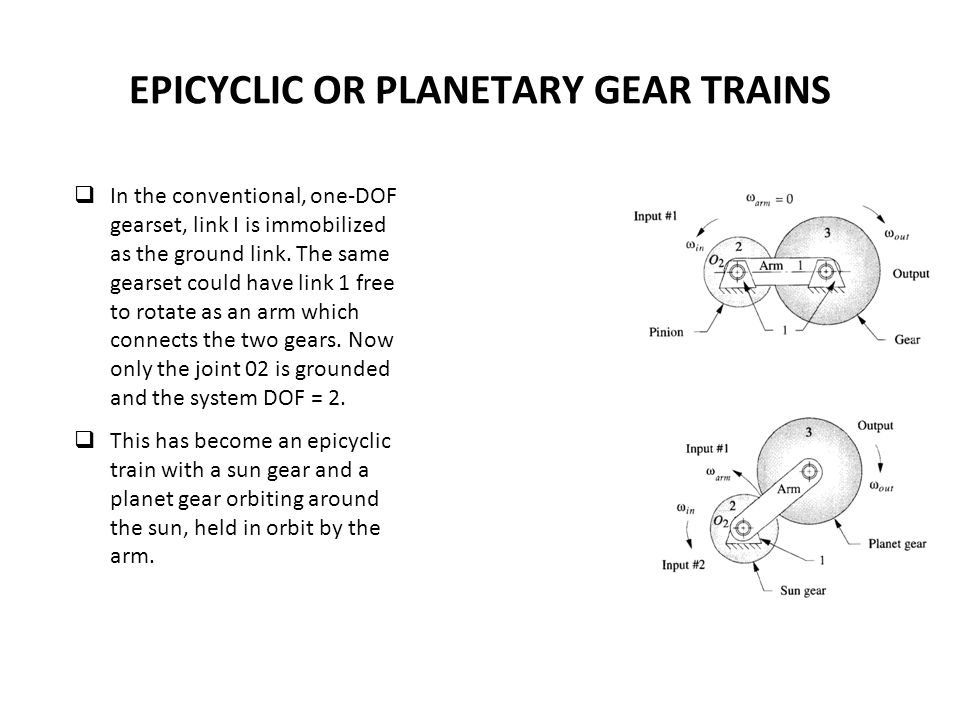 EPICYCLIC OR PLANETARY GEAR TRAINS In the conventional, one-DOF gearset, link I is immobilized as the ground link.