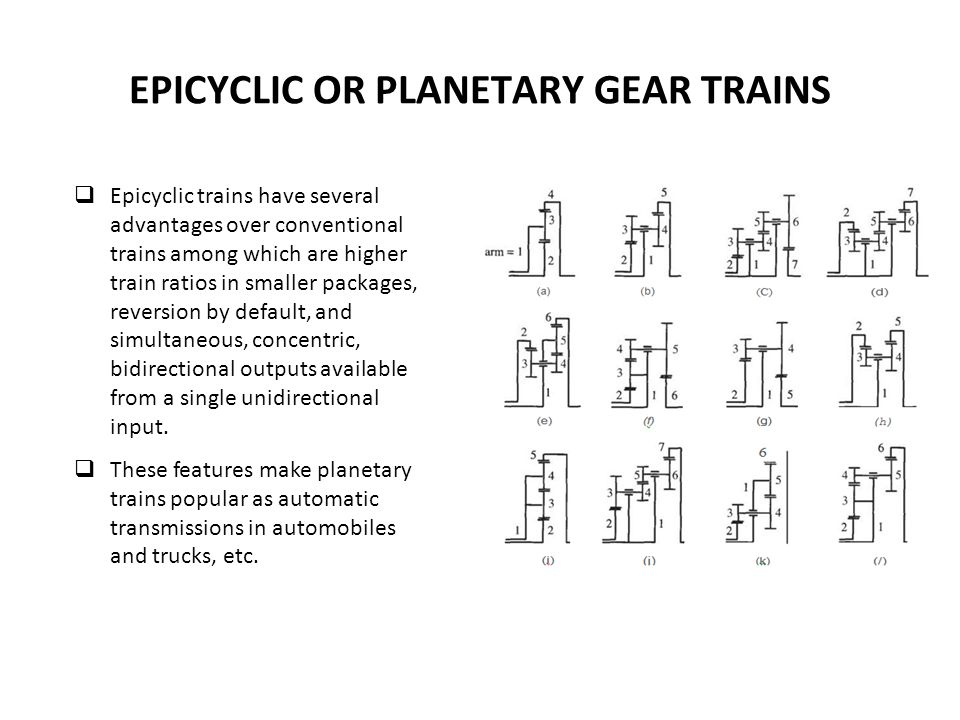 Epicyclic trains have several advantages over conventional trains among which are higher train ratios in smaller packages, reversion by default, and simultaneous, concentric, bidirectional outputs available from a single unidirectional input.